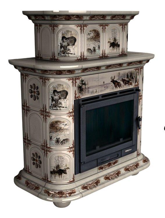 Купить изразцовый камин Прованс Д пристенный двухъярусный с росписью на тему Зима в лесу  от КимрПечь